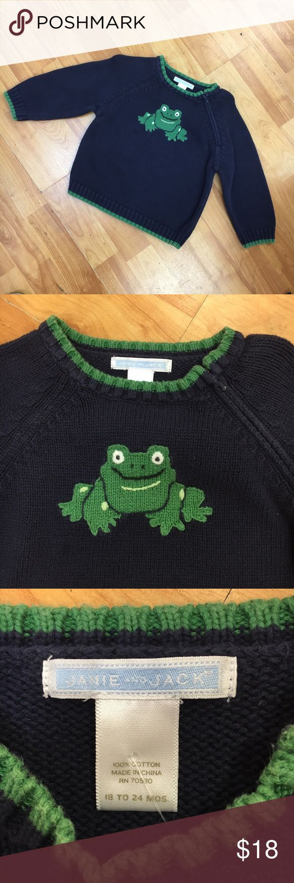 Janie and jack navy green frog sweater 12-18 mo Fair amount of wash wear and fade.  Sweater zips on shoulder on left.  Very preppy and cute.  #frog #navy #green #blueandgreen #blue #animals #sweater Janie and Jack Shirts & Tops Sweaters