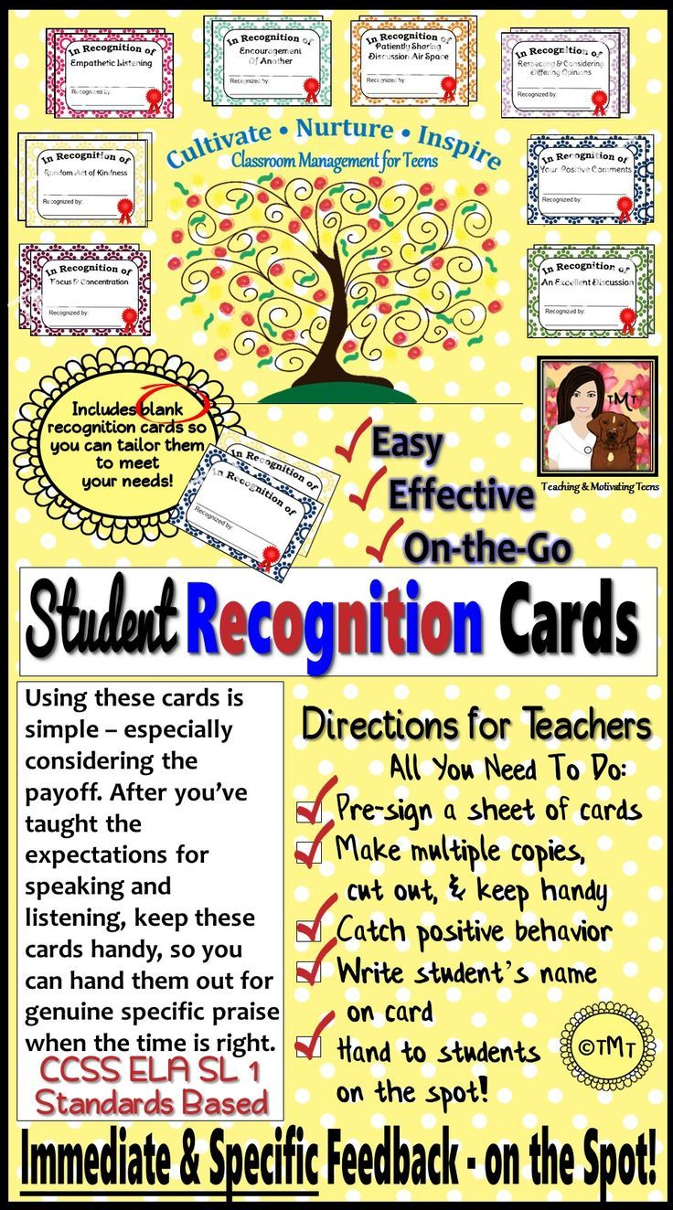 Catch and recognize the positive classroom behaviors and practices you want to see - in all subject areas. If you see a student following a specific procedure and want to provide positive feedback, grab a pre-made and copied card and discretely drop it off at the student's desk.