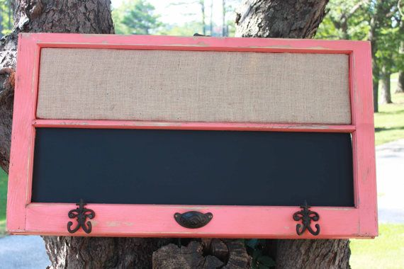 Reclaimed old window shabby chic coral chalkboard for Cork board with hooks