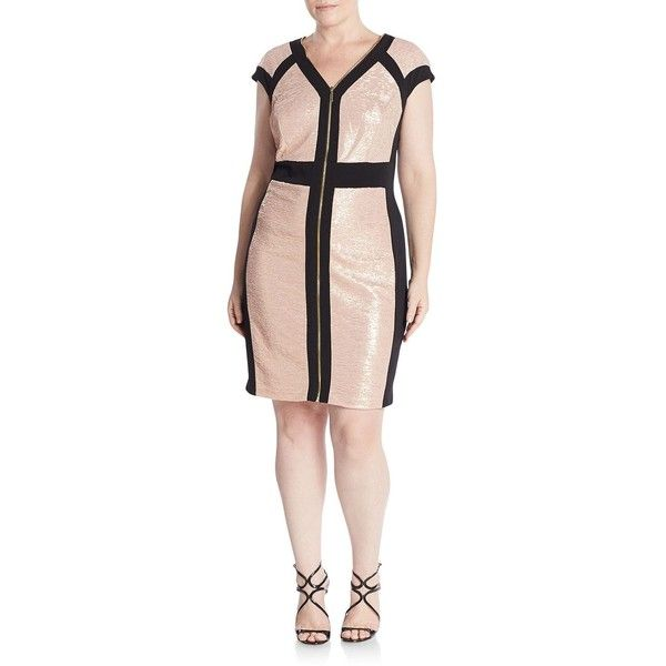 JAX, Plus Size Metallic Panel Dress ($70) ❤ liked on Polyvore featuring dresses, plus size v neck dress, plus size cap sleeve dress, pink metallic dress, plus size dresses and plus size day dresses