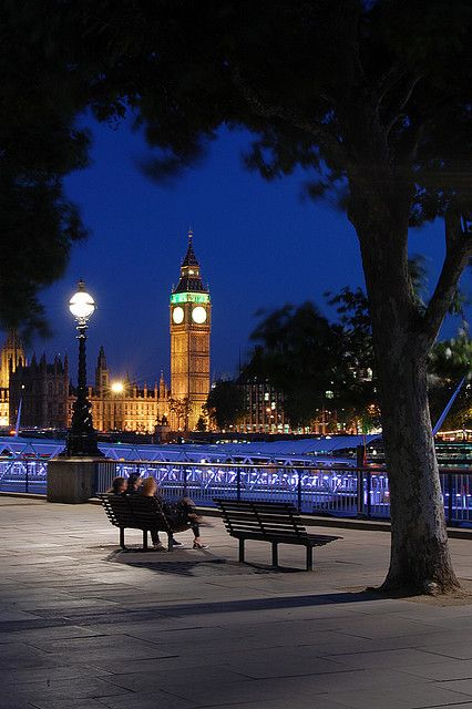 Bench with a view, London Nights-I walked along this exact spot when I was there :)