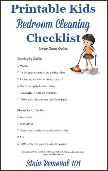 Free printable kids bedroom cleaning checklist so you can set easy to understand…