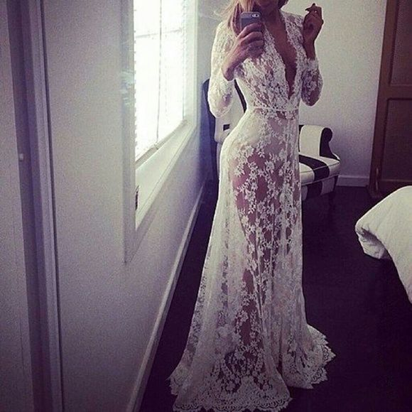 *Coming Soon* Lace Gown Beautiful lace gown. Very versitale. Can be used as a beach coverup, maternity shoot, or lingerie. Available sizes: Medium Large Xlarge Xxlarge Dresses Maxi