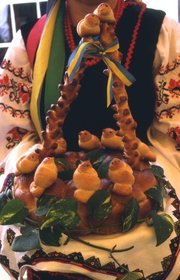A presentation of korovai, a traditional Ukrainian wedding bread (1985). | Florida Memory