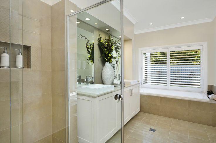 #Hamptons inspired #bathroom design in our Bronte Executive Grande Manor One on display in Braemar. For details see http://mcdonaldjoneshomes.com.au/display-home-locations/braemar. #interiordesign #design #bathroom #bath #shower #shampoonook #vanity #mirror #flowers #style #interiordesign #interiorstyle #design #decorate #styling #decorate #homestyle #newhome #home #Hampton #hamptonsstyle