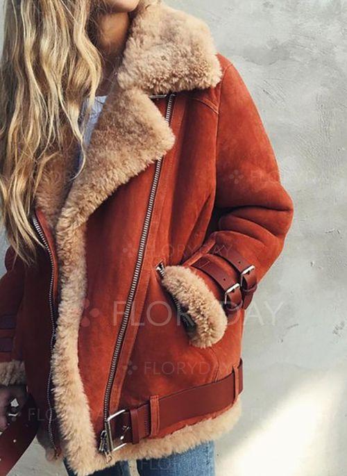 Long Sleeve Lapel Zipper Pockets Coats Floryday