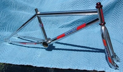 SKYWAY TA 1982 JAPAN MADE K SERIAL FRAME & FORK SET OG CHROME OLD SCHOOL BMX