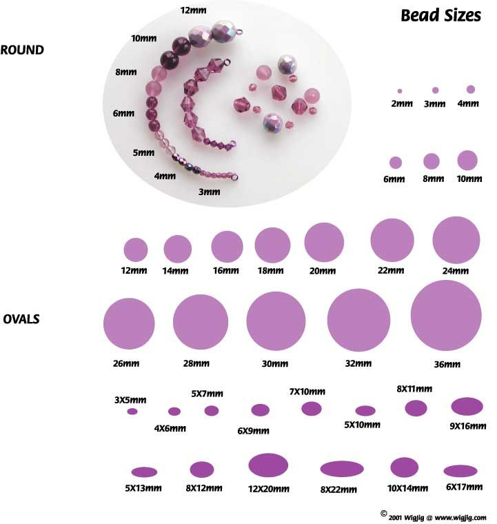 Information on the sizes of beads commonly used when making earrings, bracelets, and necklace jewelry.: