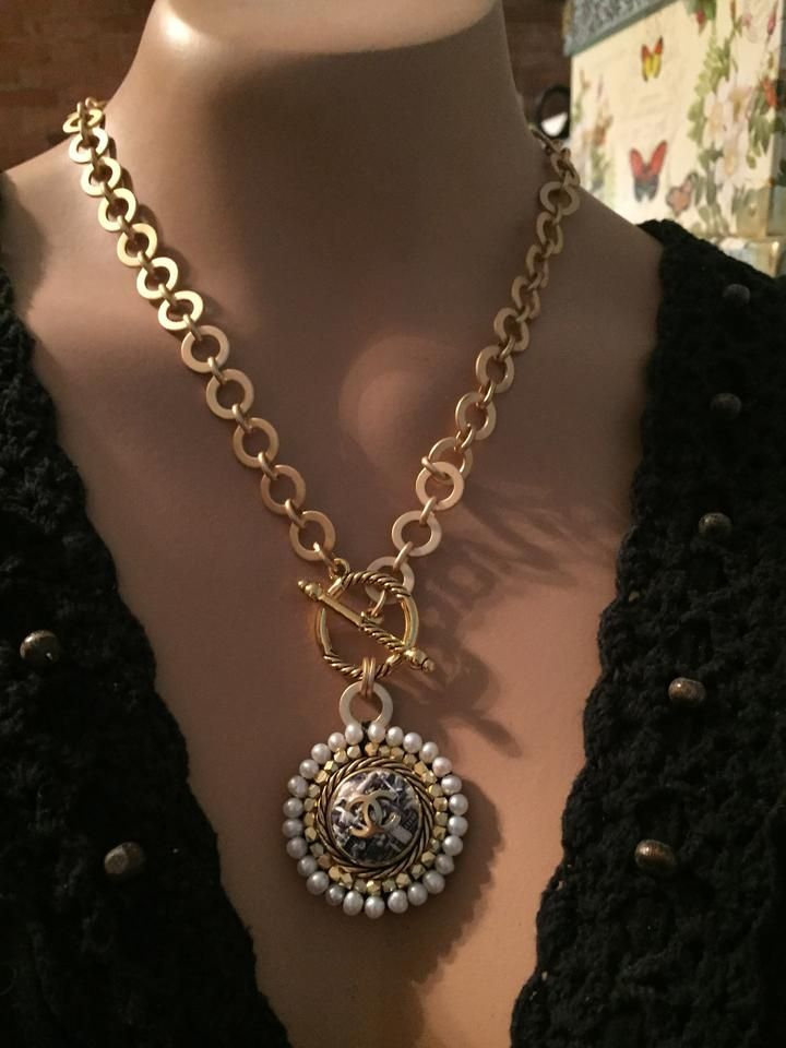 ba01328dd9a85 Gold CC Plaid Tweed Designer Button Necklace (only 1!)   Good shit ...