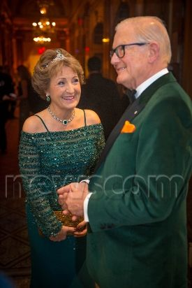 Princess Margriet and Pieter van Vollenhoven during the 35th edition of the The Peter Stuyvesant Ball at the Plaza hotel in New York, NY on November 18, 2016. The Peter Stuyvesant ball is the single largest source of funding for the NAF, the foremost bilateral foundation initiating and supporting high-impact exchanges between the Netherlands and the United States. This year�s theme is �Go Green�, encouraging and celebrating Global Sustainable Development and Innovation. (Photo by R