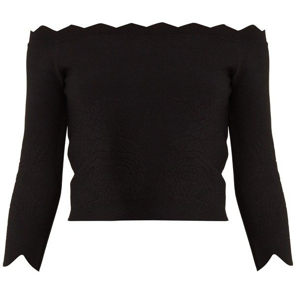 Alexander McQueen Off-the-shoulder rose-embossed top (26.910.170 VND) ❤ liked on Polyvore featuring tops, black, form fitting tops, rosette top, scallop hem top, alexander mcqueen and alexander mcqueen top