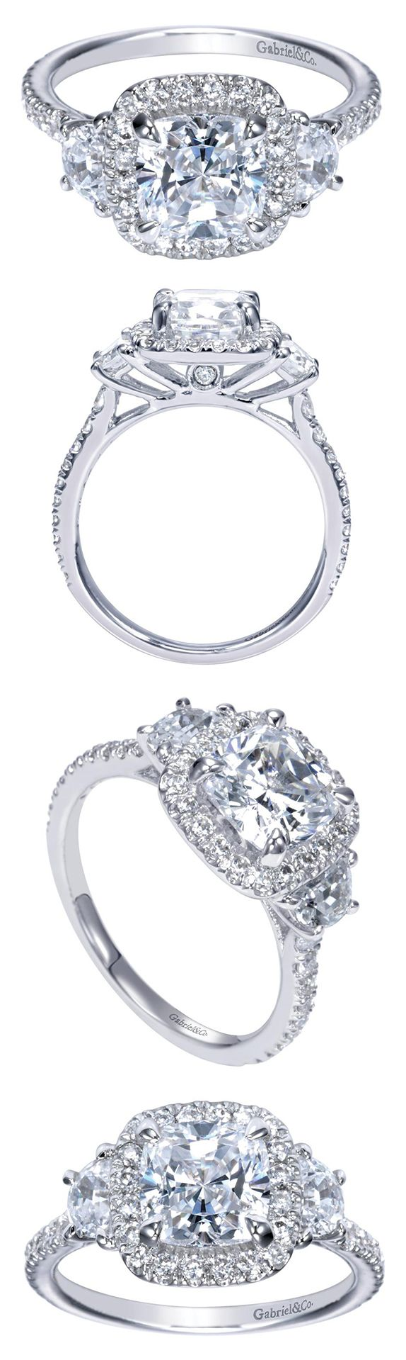 A stunning 14k white gold contemporary halo engagement ring.