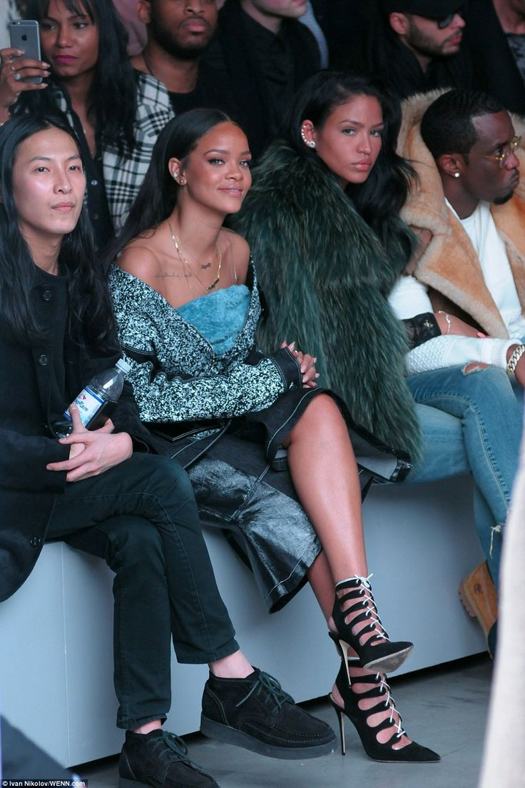 Designer pals: Rihanna sat front row next to Alexander Wang, Cassie Where and P…
