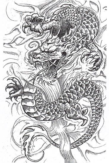Dessin tatouage dragon