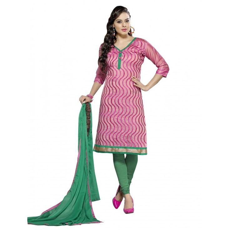 Casual Wear Chanderi Pink Churidar Suit Dress Material  - 70033