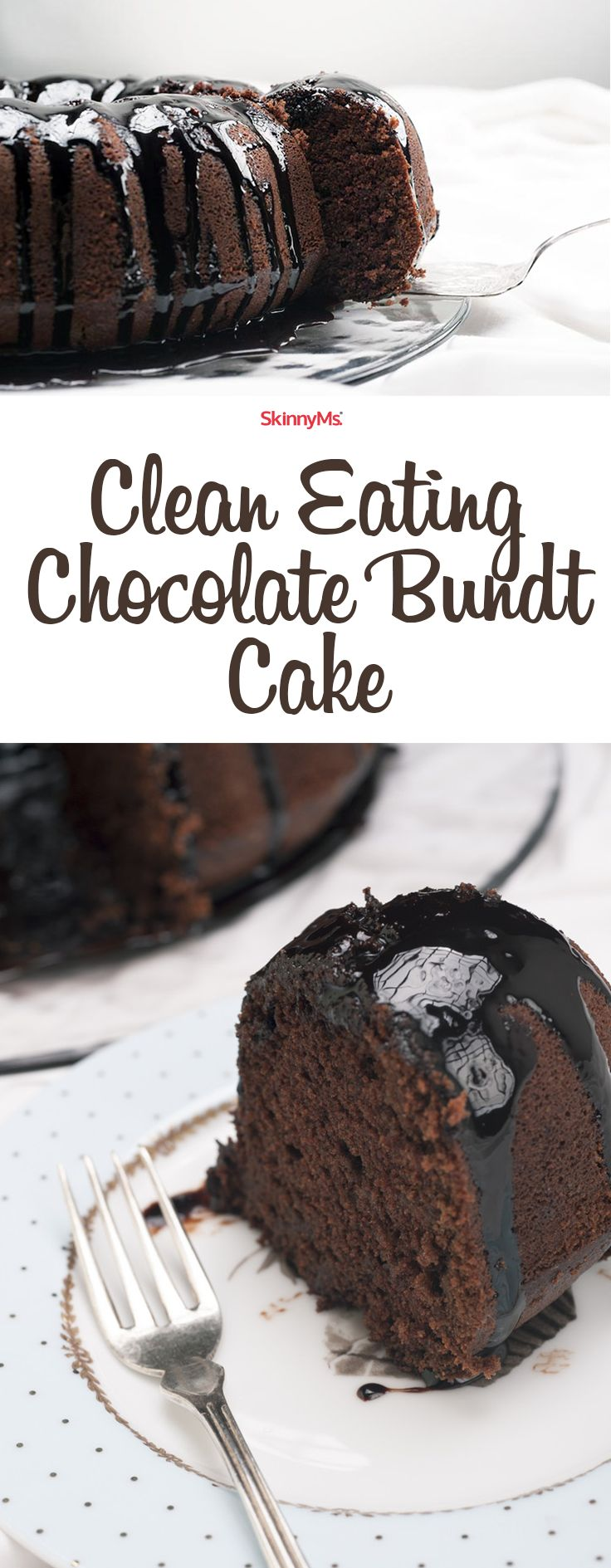 This Clean Eating Chocolate Bundt Cake doesn't use vegetable oil, or refined sugars. Instead, it calls for clean ingredients like coconut sugar and Greek yogurt, which lend moist texture to each scrumptious slice. It's heavenly! #skinnyms