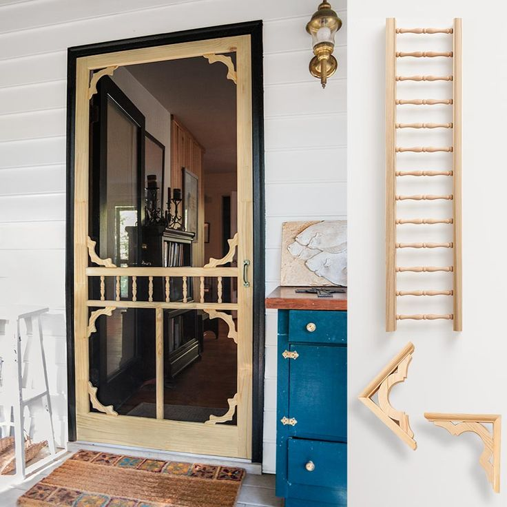 Get this lovely vintage look screen door for less, by dressing up a simple home-center door, like the Petguard Series Wood Century Screen Door (about $50; @homedepot), with stock wood details.