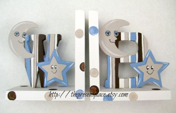 hand painted initial letter bookends,moons,stars,polka dots,stripes,personalized bookends,blues,browns,boys bookends,childrens bookends