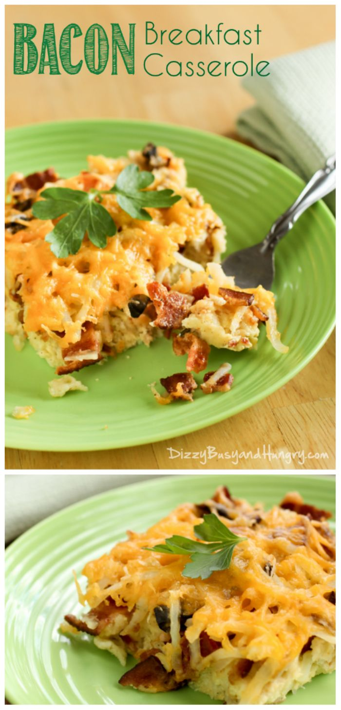 Bacon Breakfast Casserole   DizzyBusyandHungry.com - Combine all of your breakfast favorites in this hot, cheesy casserole!