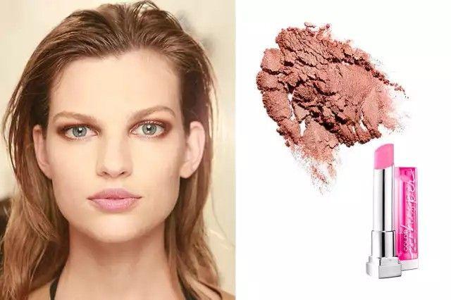 Sombras cobre y labial rosa claro