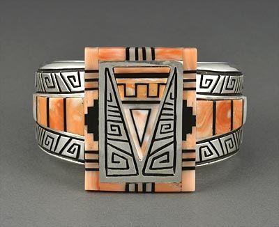 Silver & Pink Coral Bracelet by Abraham Begay (Navajo)