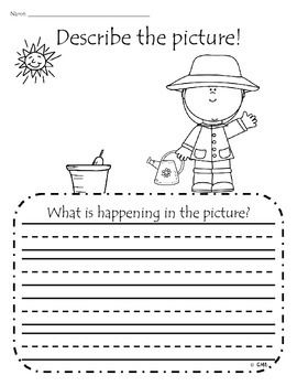 Spring themed adding details to writing practice for kindergarten/first grade - eleven pictures including St. Patricks' Day, Easter, Earth Day, Mother's Day, etc.