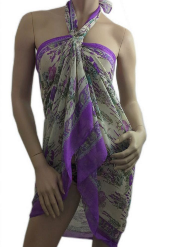 Summer Scarf Shawl Pareo Cotton Beach Wrap Floral Swimsuit Cover Up Lilac Pareo  www.scarfclub.net