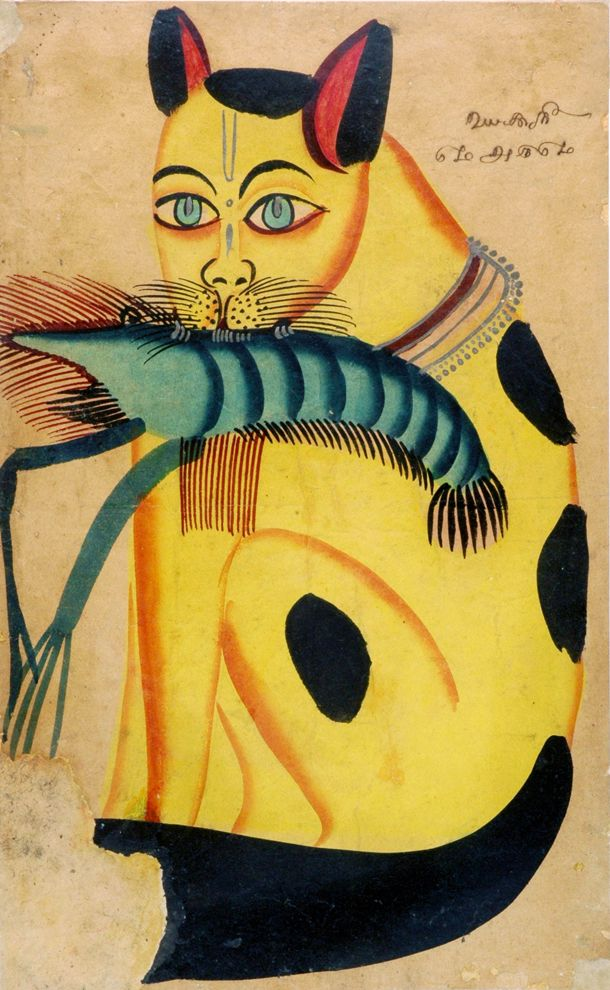 Cat with prawn. Kalighat painting is a specific urban popular painting style that developed in the vicinity of the Kali temple in Kolkata in the mid 19th C., watercolour drawings, or 'pats', mainly originated through the work of professional painters (patuas) from the rural districts of Bengal. undated. VAM