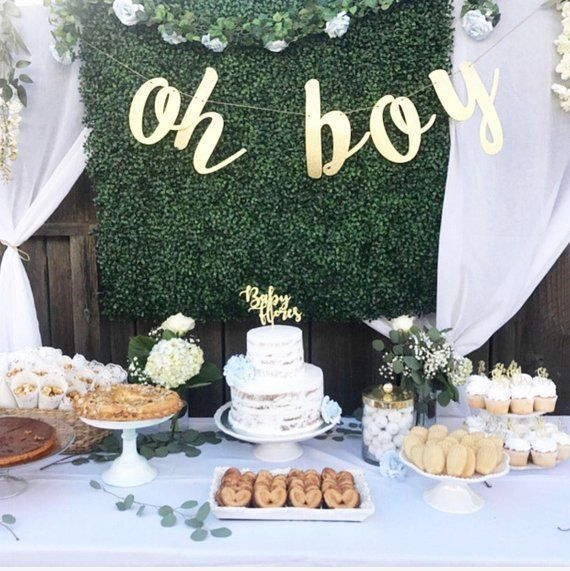 "Glitter ""Oh Boy"" Banner für Baby-Dusche oder Gender Reveal Party – #babyshower …"