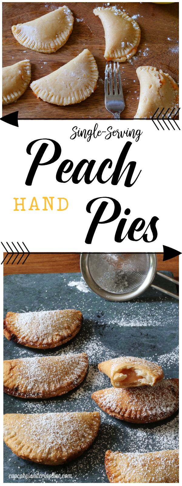 Peach pie - small hand pies before baking and then after baking sprinkled with powdered sugar.
