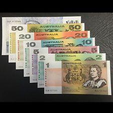 Complete Set of Johnston Stone Australian Decimal Paper Banknotes - Uncirculated