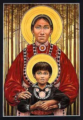 "Choctaw Madonna and Child by Fr. John Giuliani       (The ""Five Civilized Tribes"" — the Choctaws, Cherokees, Chickasaws, Creeks and Seminoles — were forcibly ""removed"" from their lands in the eastern United states and marched on the Trail of Tears in the harsh winter of 1831-1832 to Indian territory — now Oklahoma."