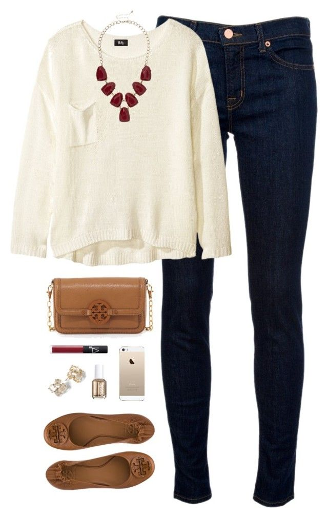 """""""burgundy accents"""" by classically-preppy ❤ liked on Polyvore featuring J Brand, H&M, Tory Burch, NARS Cosmetics, Essie and Kate Spade"""