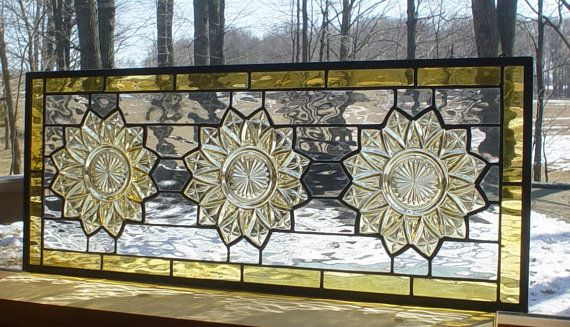 "Sunflower Transom stained glass panel window with vintage plates. $145.00, via Etsy. 25"" x 10 """