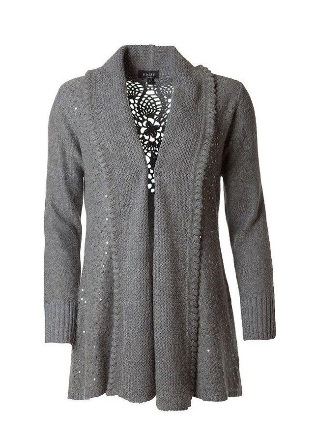Ein Must in diesem Herbst! Langer Cardigan mit Schalkragen, gehäckete Rückenpartie und mit Pailletten bestickt! Viellseitig kombinierbar, sowohl sportlich als auch elegant.