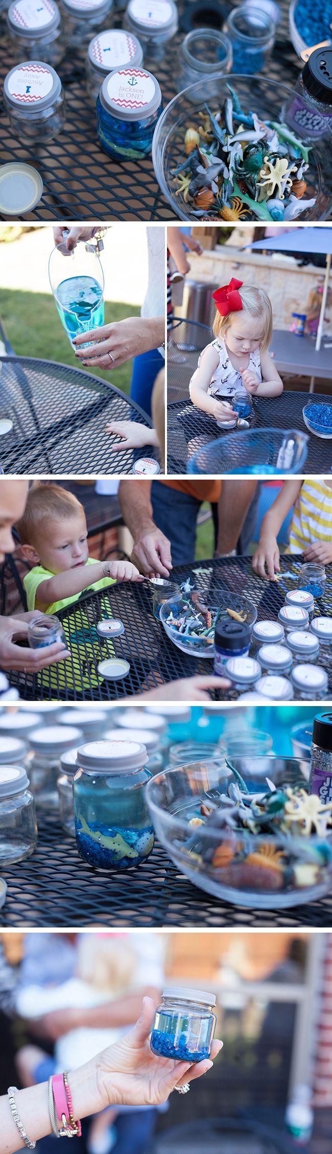 Nautical theme birthday party - DIY mini aquarium party favors