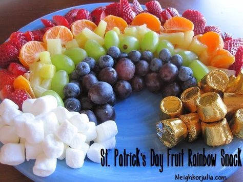 Rainbow Fruit Plate with marshmallows for clouds and Rolos for gold   Neighbor Julia: St. Patrick's Day Fun!