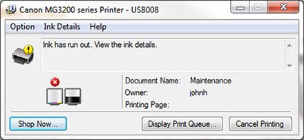 canon printer error codes - ink is low or empty: reset