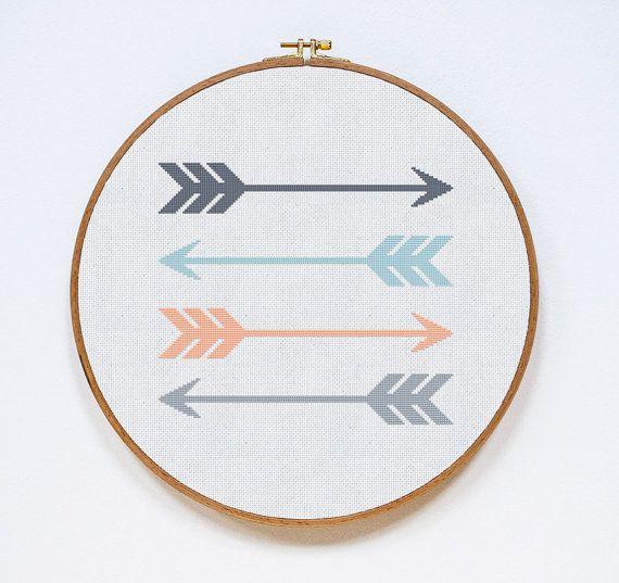 Wandbild sticken Kreuzstich, Stickmuster und Stickvorlagen - Handarbeit liegt im Trend, Stickvorlage Pfeil