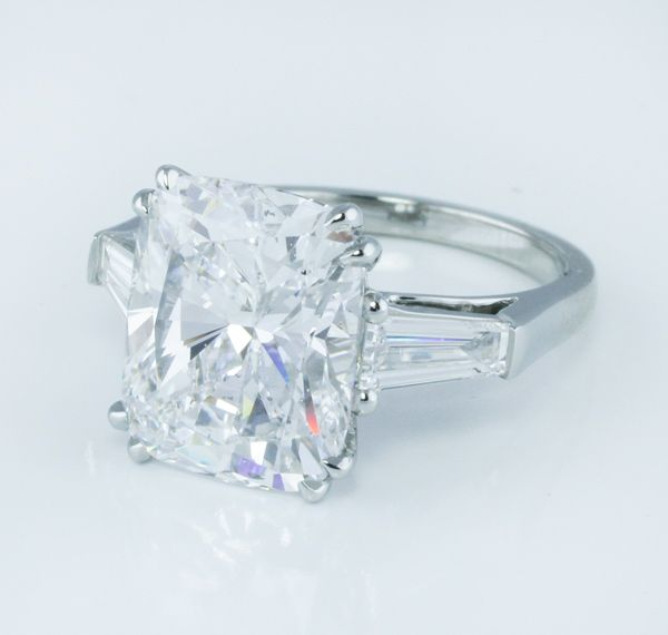 #Capri #Jewelers #Arizona ~ www.caprijewelersaz.com ♥ Some VERY lucky lady is going to be the proud owner of this to die for cushion cut diamond engagement ring with tapered baguette diamond accents. We love the double claw prongs and the simplicity of this timeless design... Love it!!!