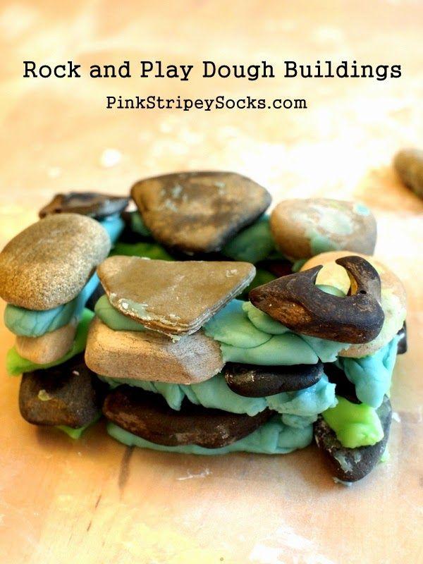 3 little pigs - house of rocks (instead of bricks) ; using playdough 'cement'