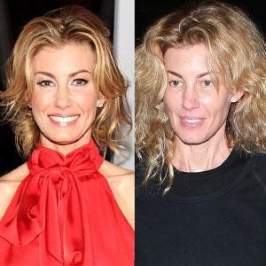 Faith Hill looks younger with makeup on to me.  She's even prettier with it on.