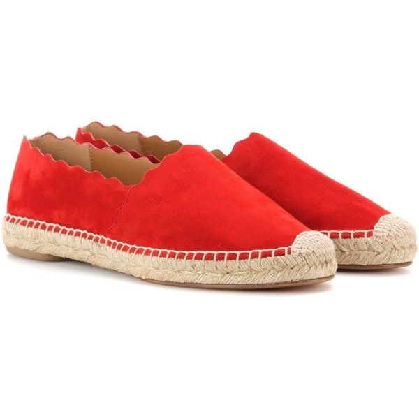 Chloé Lauren Suede Espadrilles (3,505 GTQ) ❤ liked on Polyvore featuring shoes, sandals, red, suede leather shoes, red sandals, chloe shoes, suede sandals and red suede shoes