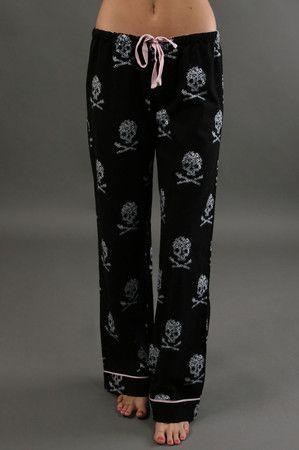 The Skull Pajama Pant by P.J. Salvage at CoutureCandy.com #skullfashion http://www.skullclothing.net