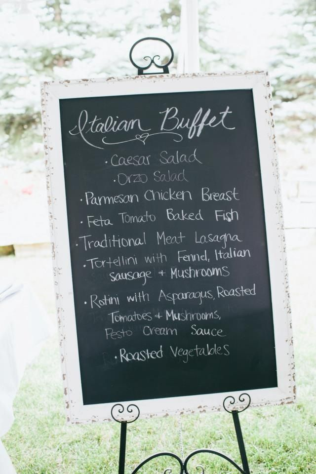 large chalkboard with italian wedding dinner menu  callie
