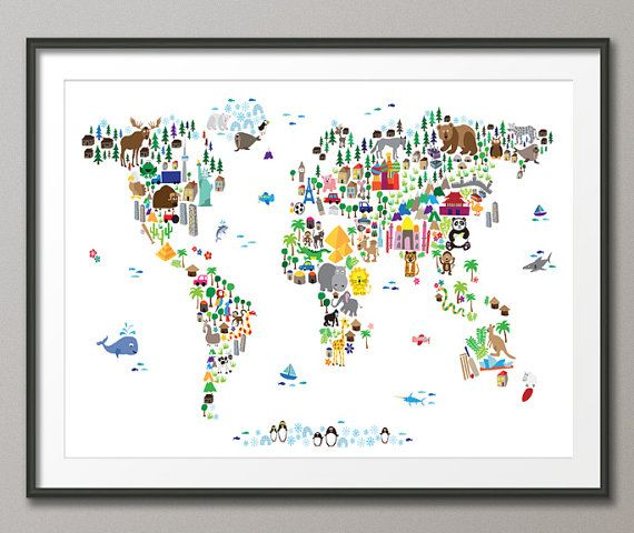 Animal Map of the World Map for children and kids, Art Print - 12x16 and 18x24 inch (61)