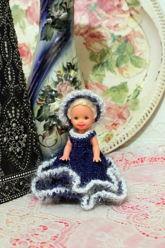Doll clothing, kelly doll dress 4 inch doll Miniature crocheted  and Knitting dress