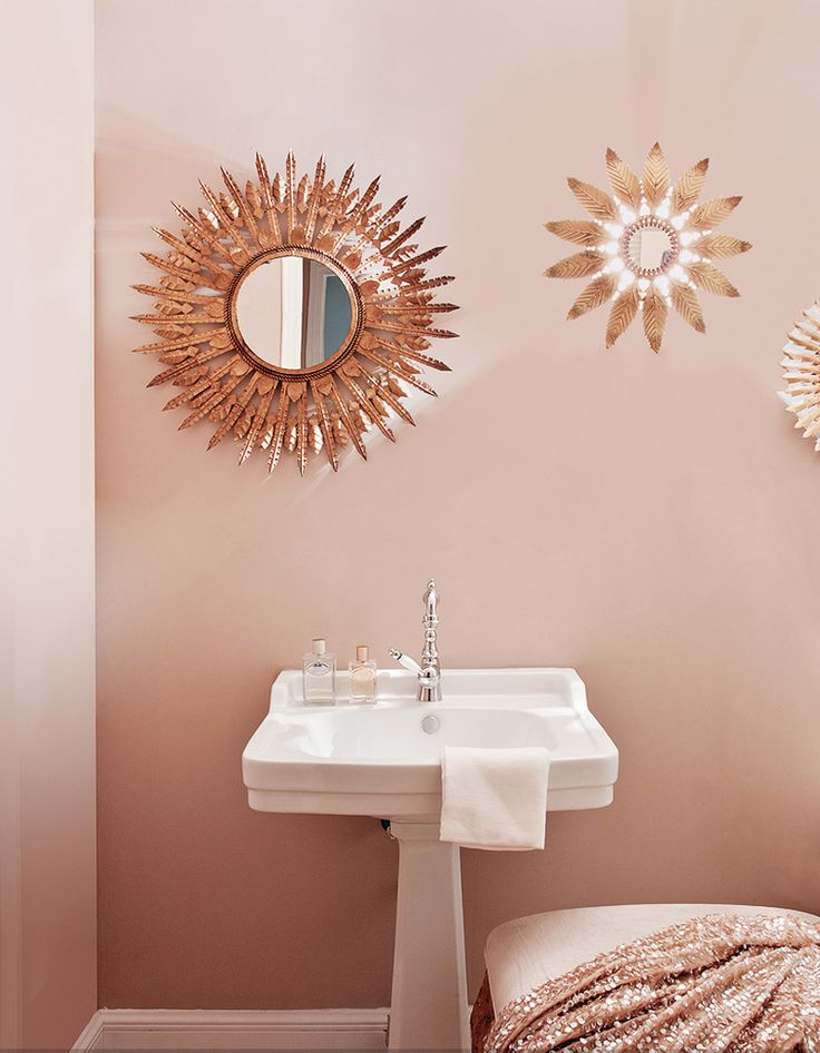 Inside a Groovy Pad Fit for a Queen// sunburst mirror, pink backroomPink Bathrooms, Feminine Bathroom, Inspiration, Living Pink, Sunburst Mirrors, Interiors, Home Decor, Miriam Alia, Wall Clocks