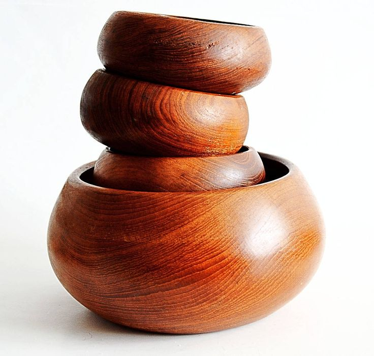 Genuine Teak, Set of 5, Salad Bowls, Made in Thailand, Mid Century Modern, Scandinavian Inspired, Wooden Serving Bowls by Retrorrific on Etsy
