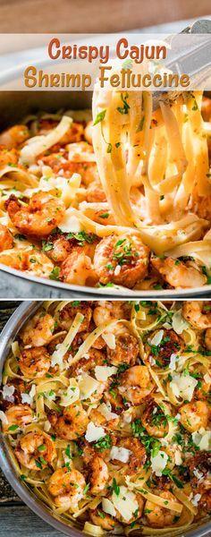 ► Crispy Cajun Shrimp Fettuccine Recipe: fettuccine noodles, large shrimp, Cajun seasoning, flour, butter, olive oil, chicken broth, heavy cream, salt, pepper, Parmesan cheese and flat leaf parsley.